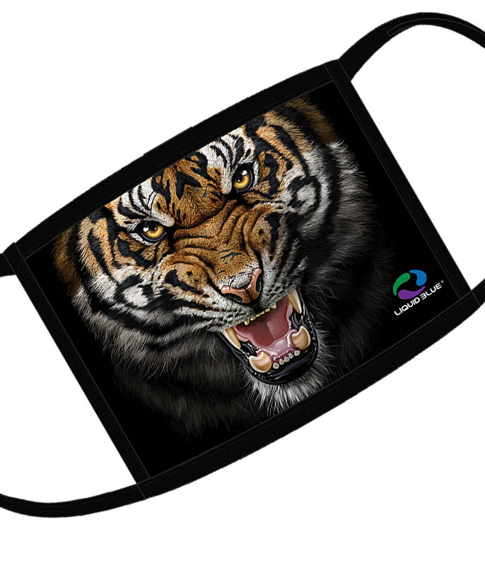 Liquid Blue Tiger Face Face Covering