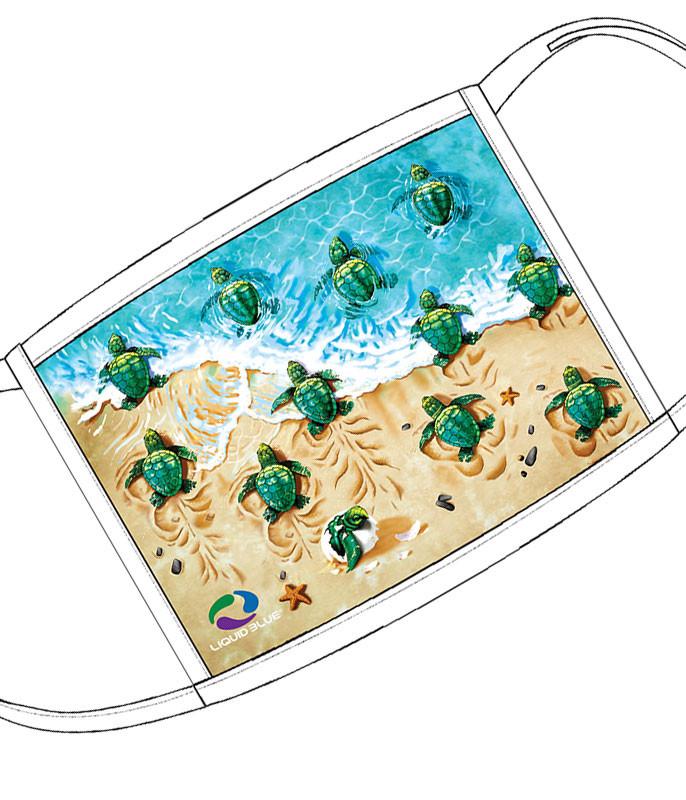 Liquid Blue Turtle Beach Face Covering