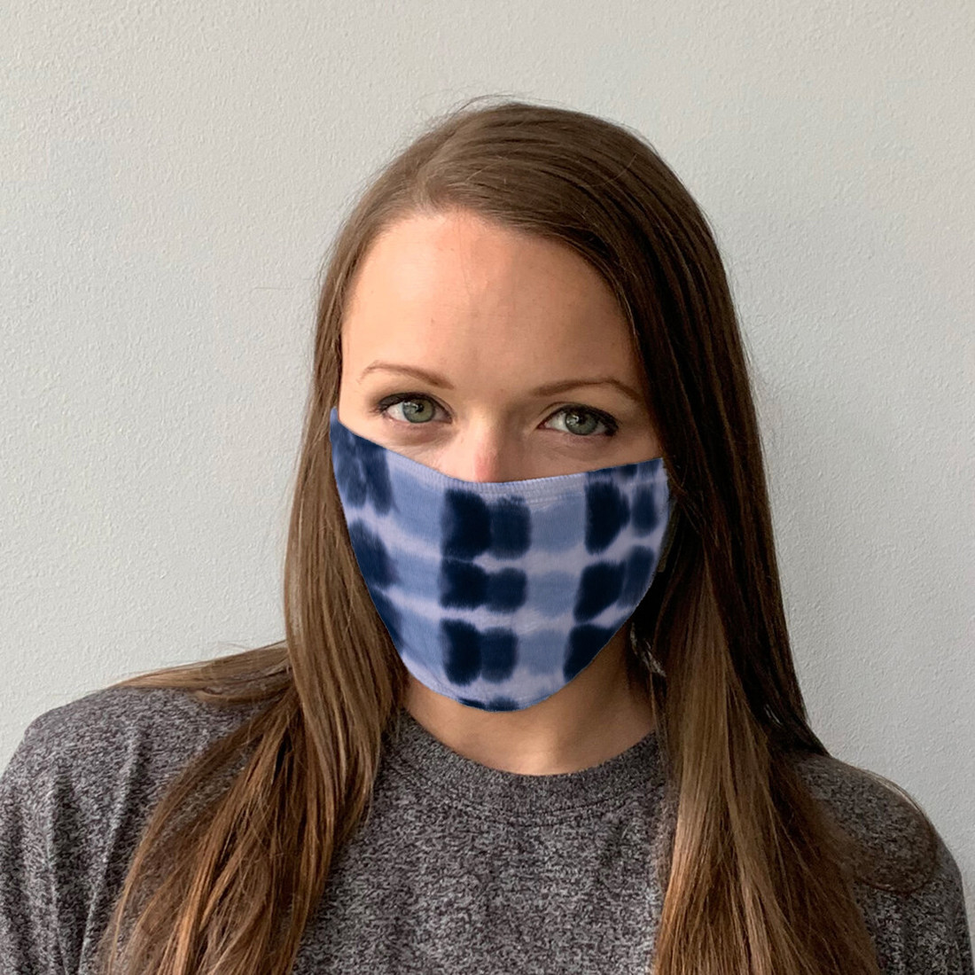 Black Grey Banded Face Covering