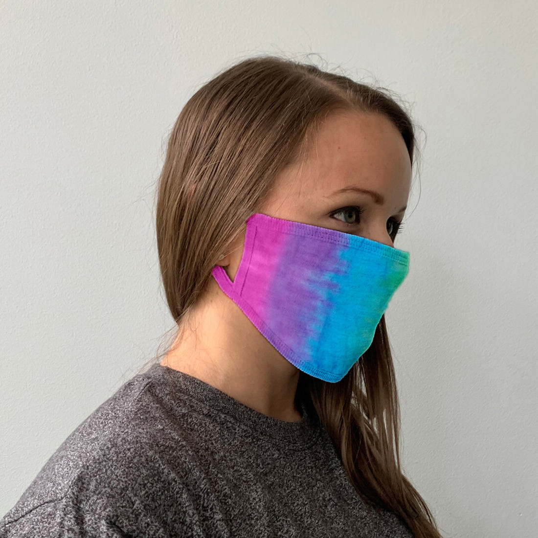 Pastel Banded Tie-Dye Face Covering