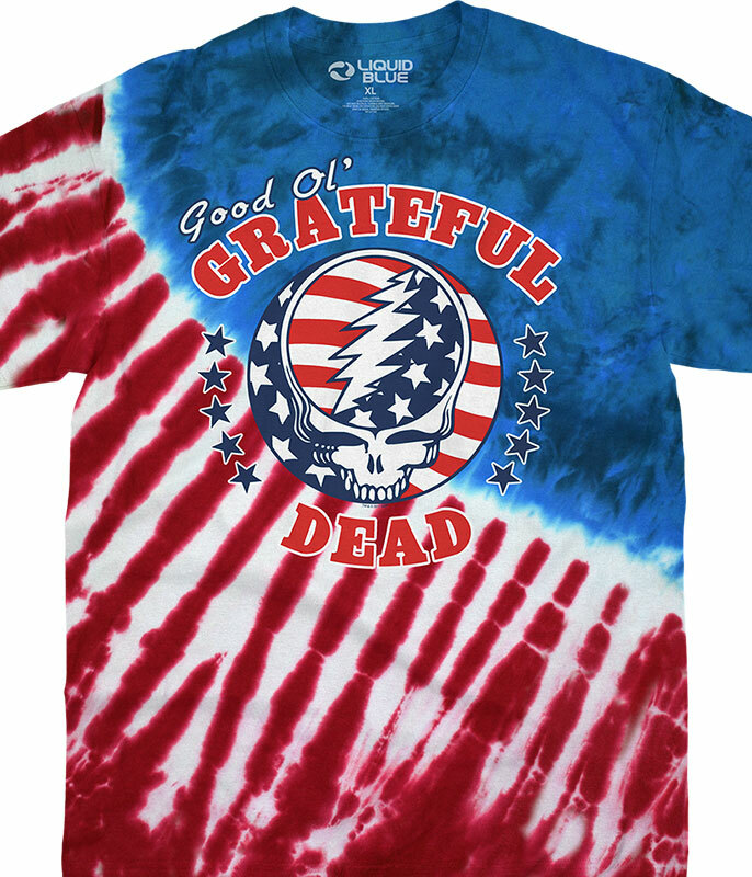 Grateful Dead Good Ol GD Tie-Dye T-Shirt Tee Liquid Blue