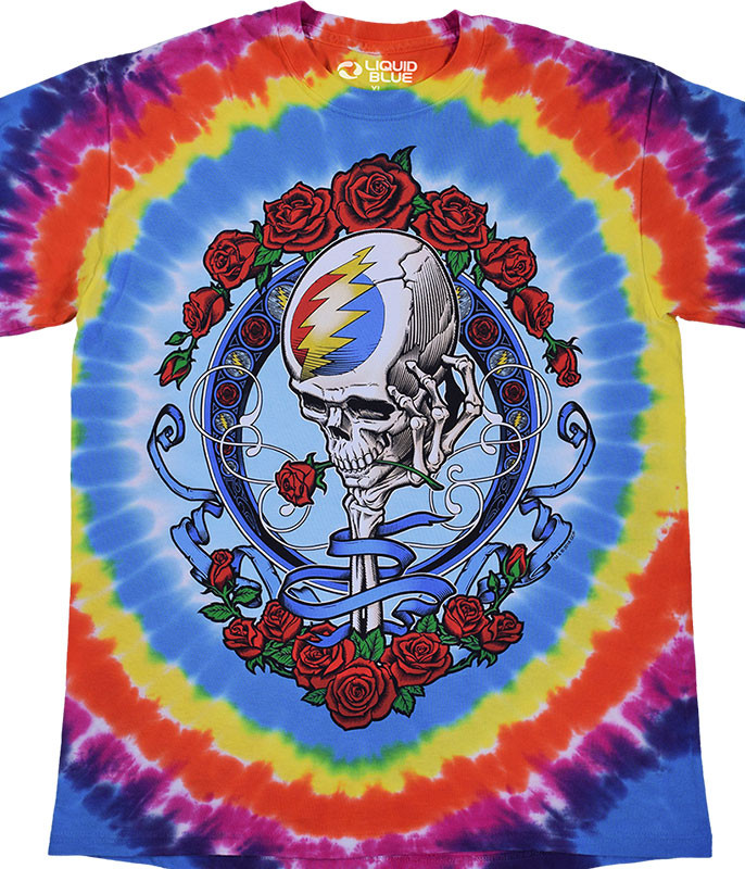 Grateful Dead Never Dead Tie-Dye T-Shirt Tee Liquid Blue
