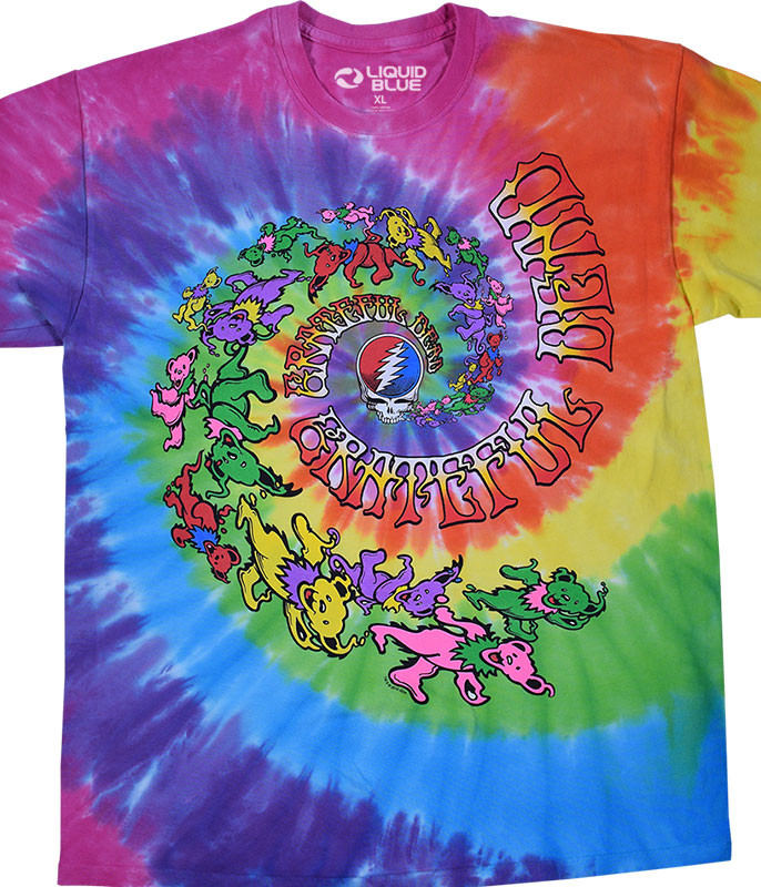 Grateful Dead Spiral Trippy Bears Tie-Dye T-Shirt Tee Liquid Blue