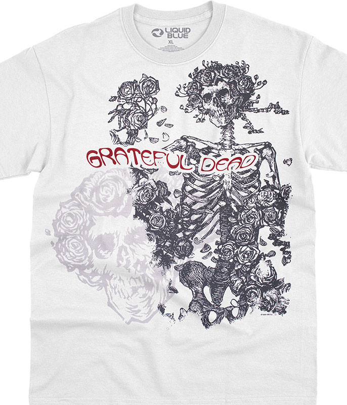 Grateful Dead Woodcut Redux White T-Shirt Tee Liquid Blue