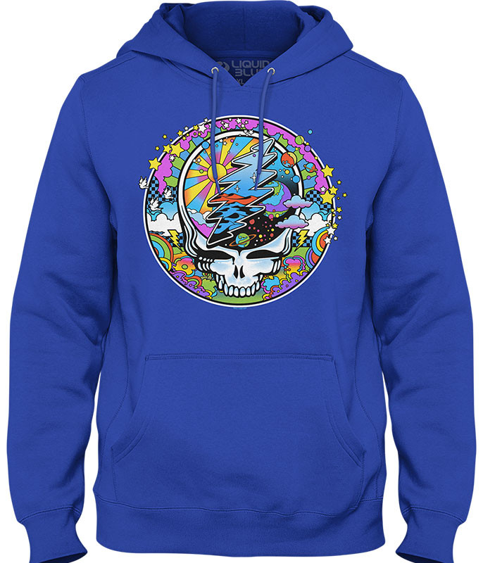 Grateful Dead Mod Max SYFace Blue Hoodie Liquid Blue