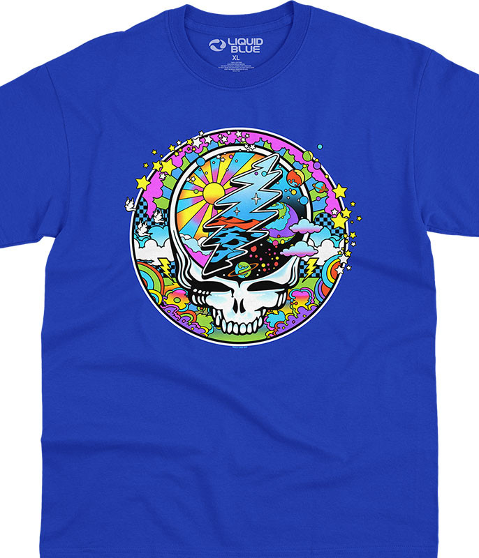 Grateful Dead Mod Max SYFace Blue T-Shirt Tee Liquid Blue