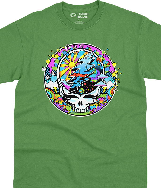Grateful Dead Mod Max SYFace Green T-Shirt Tee Liquid Blue