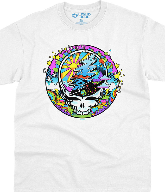 Grateful Dead Mod Max SYFace White T-Shirt Tee Liquid Blue