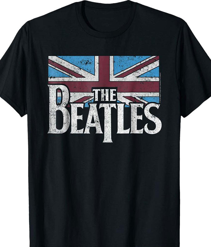 Beatles British Flag Black T-Shirt Tee