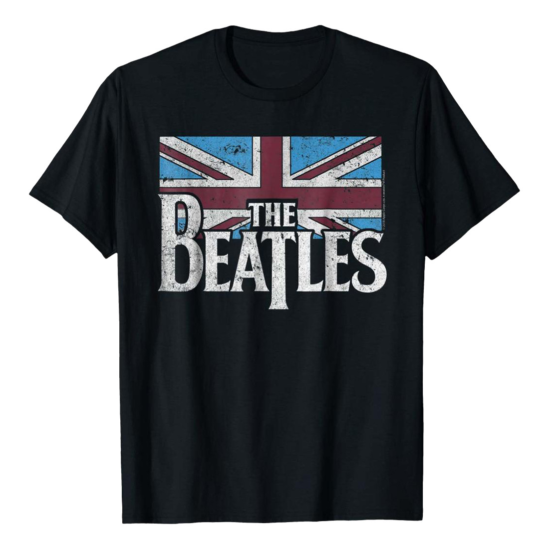 Beatles British Flag Black T-Shirt