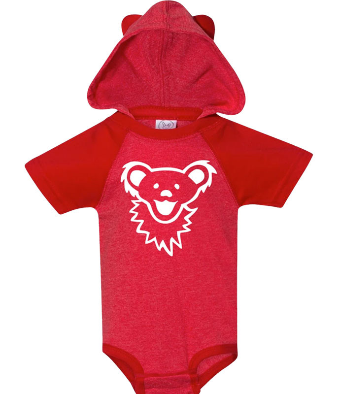 Grateful Dead GD Bearface Hooded Red Onesie