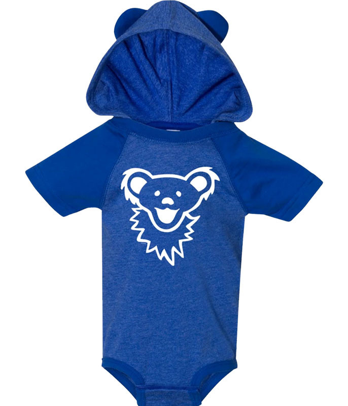 Grateful Dead GD Bearface Hooded Blue Onesie