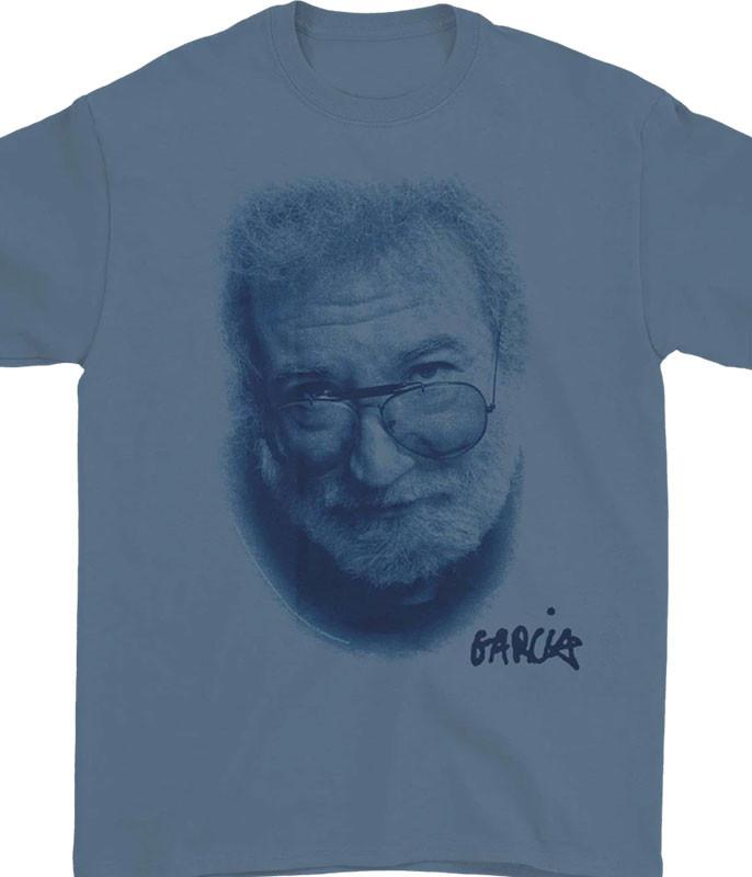 Jerry Garcia Portrait Blue T-Shirt Tee
