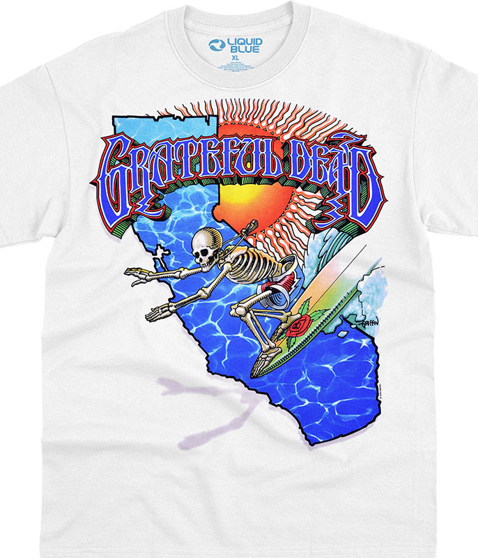 Grateful Dead California Surfer White T-Shirt Tee Liquid Blue