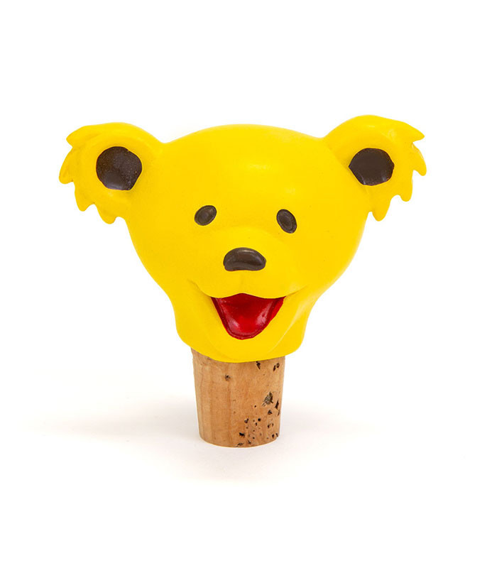 Grateful Dead Dancing Bear Head Yellow Bottle Stopper