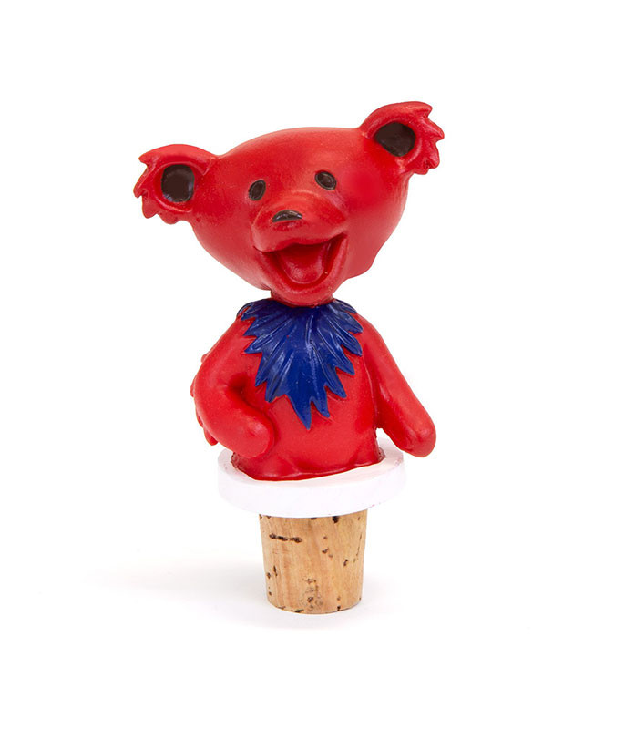 Grateful Dead Dancing Bear Red Bottle Stopper