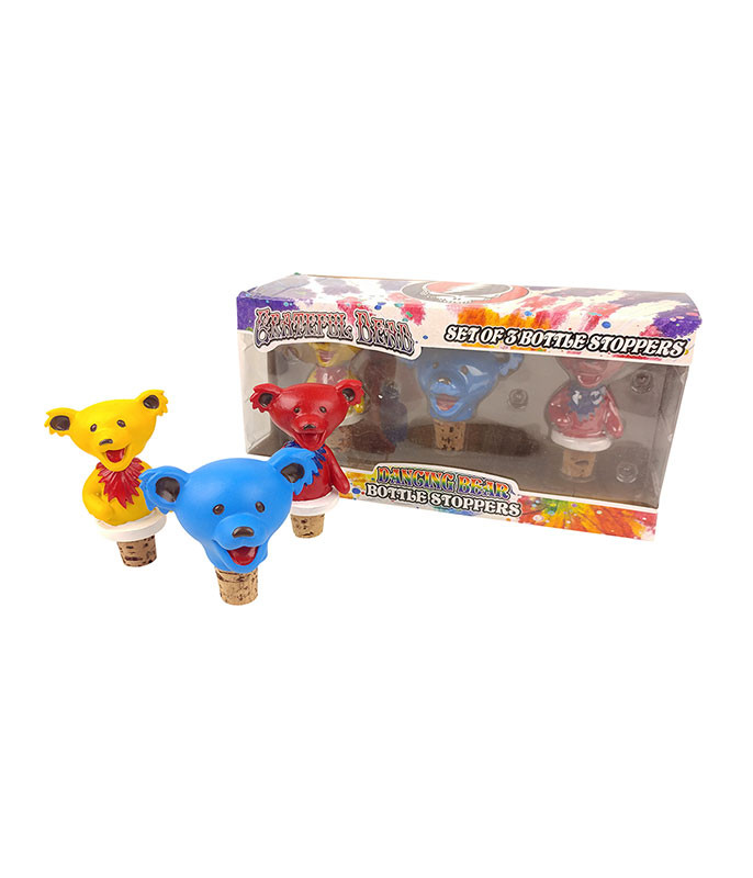 Grateful Dead Dancing Bear 3 Bottle Stopper Set