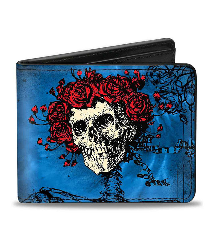Grateful Dead GD Skull and Roses Blues Bi-Fold Wallet