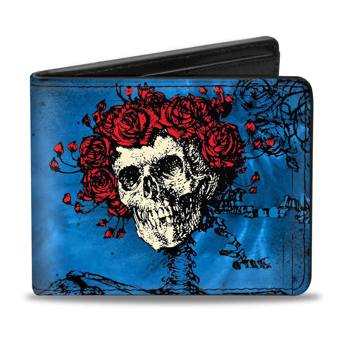 GD Skull and Roses Blues Bi-Fold Wallet