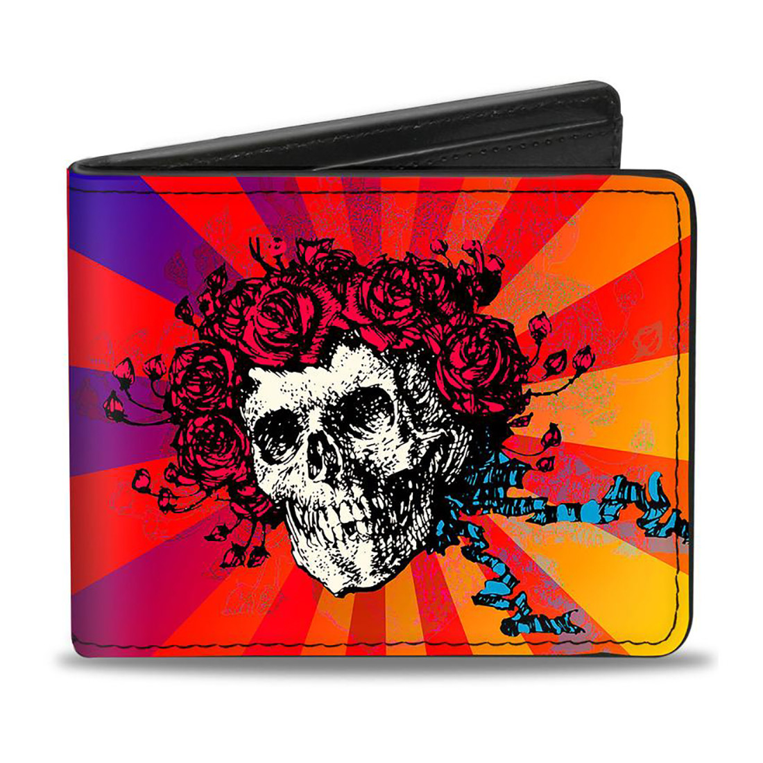 GD Skull and Roses Ombre Bi-Fold Wallet