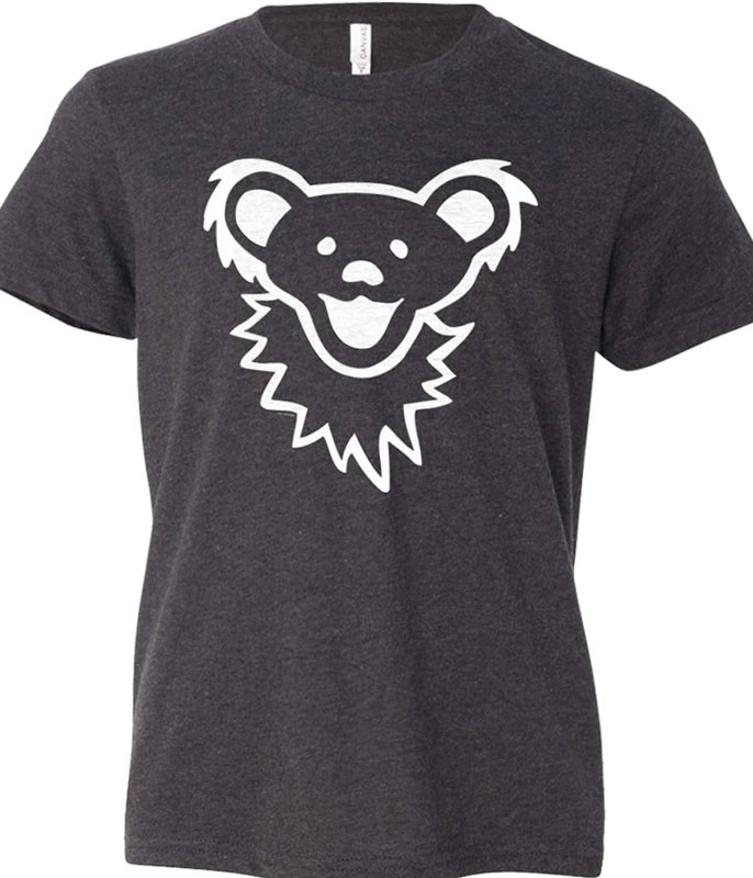 Grateful Dead Grateful Dead Dancing Bear Face Dark Heather Youth T-Shirt Tee