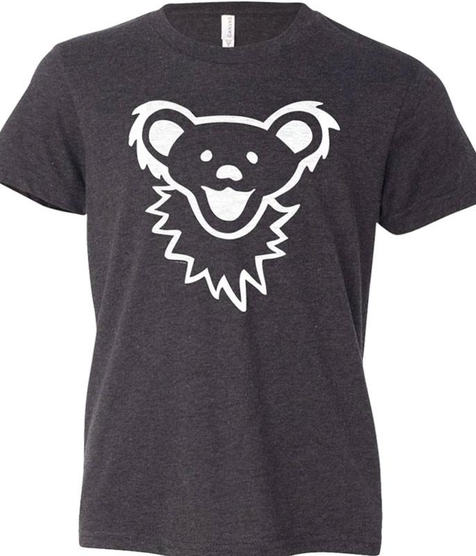 Grateful Dead Grateful Dead Dancing Bear Face Dark Heather Youth T-Shirt Tee