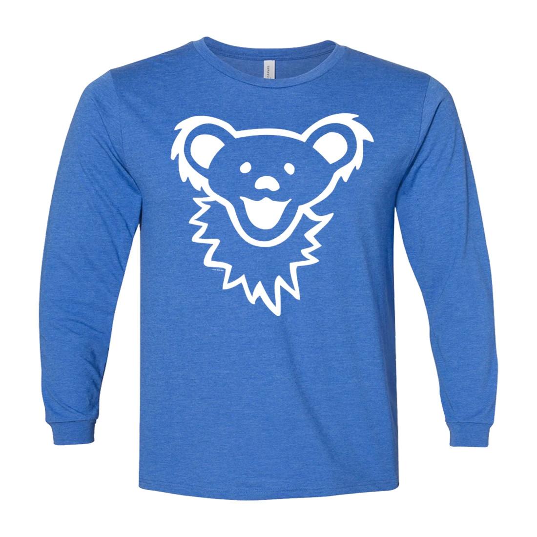 Dancing Bear Face Royal Youth Long Sleeve T-Shirt