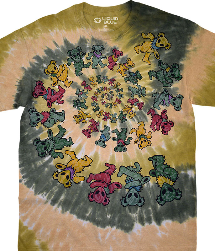 Grateful Dead Alien Spiral Bears Tie-Dye T-Shirt Tee Liquid Blue