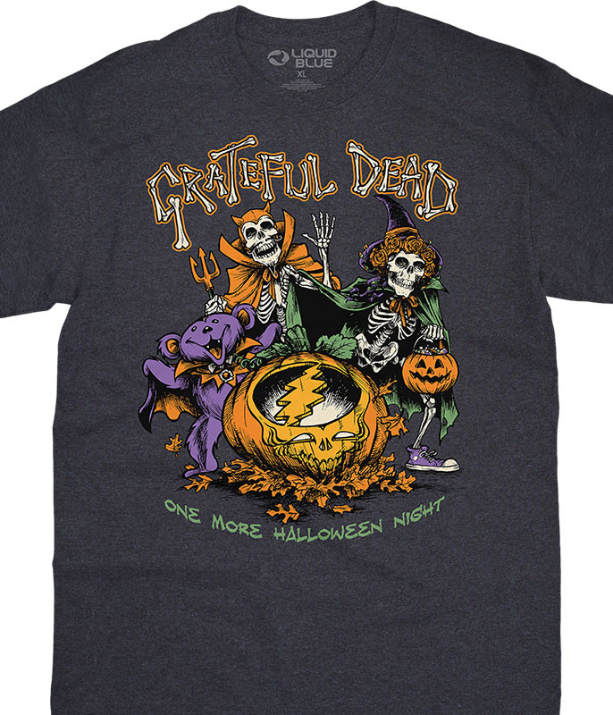 Grateful Dead Steal Your Pumpkin Dark Heather T-Shirt Tee Liquid Blue