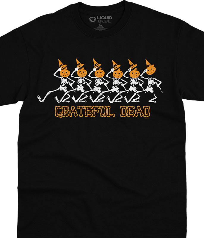 Grateful Dead Pumpkin Skellys Black T-Shirt Tee Liquid Blue