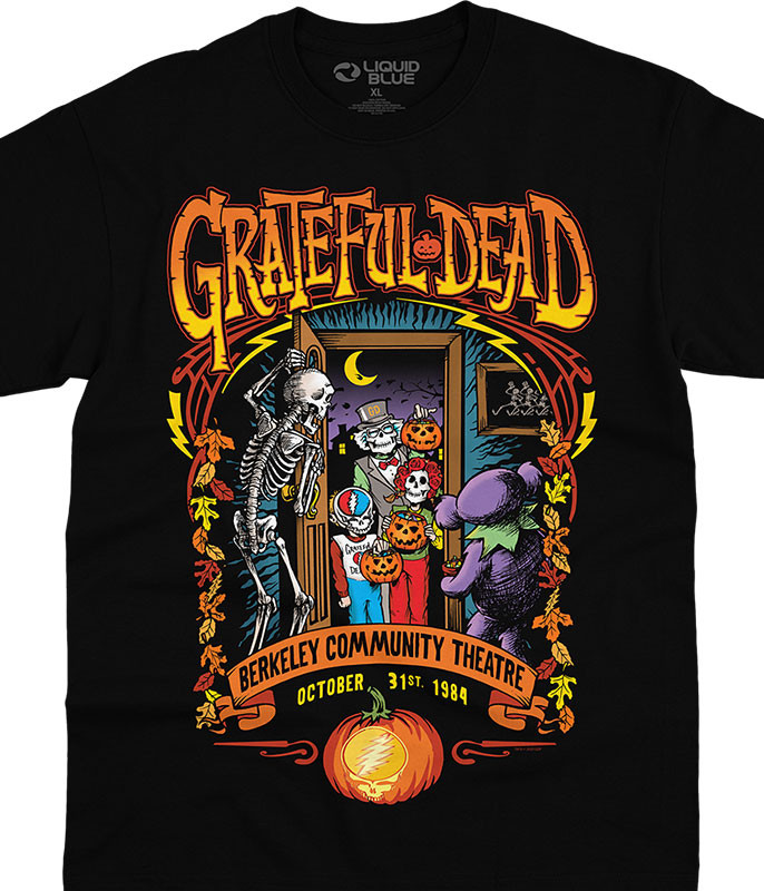 Grateful Dead Trick Or Treat Black T-Shirt Tee Liquid Blue