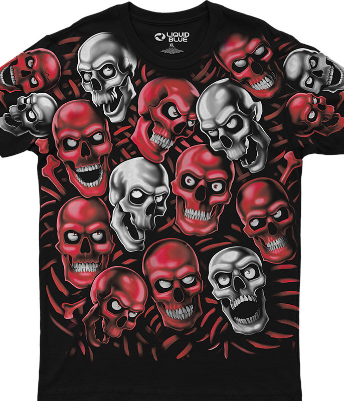 Skulls Skull Pile Red Grey Black Athletic T-Shirt Tee Liquid Blue