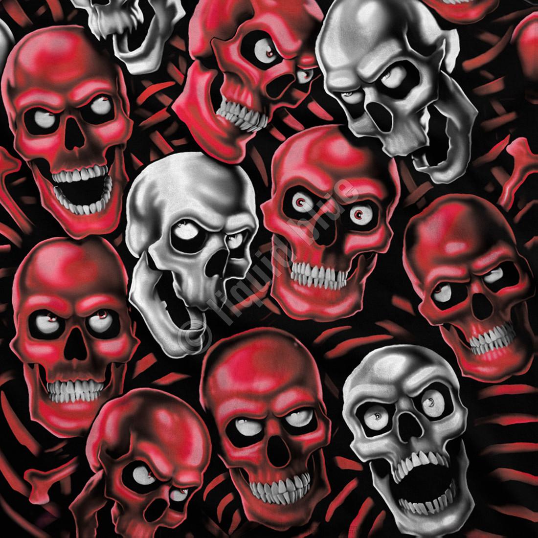 Skull Pile Red Grey Black Athletic T-Shirt