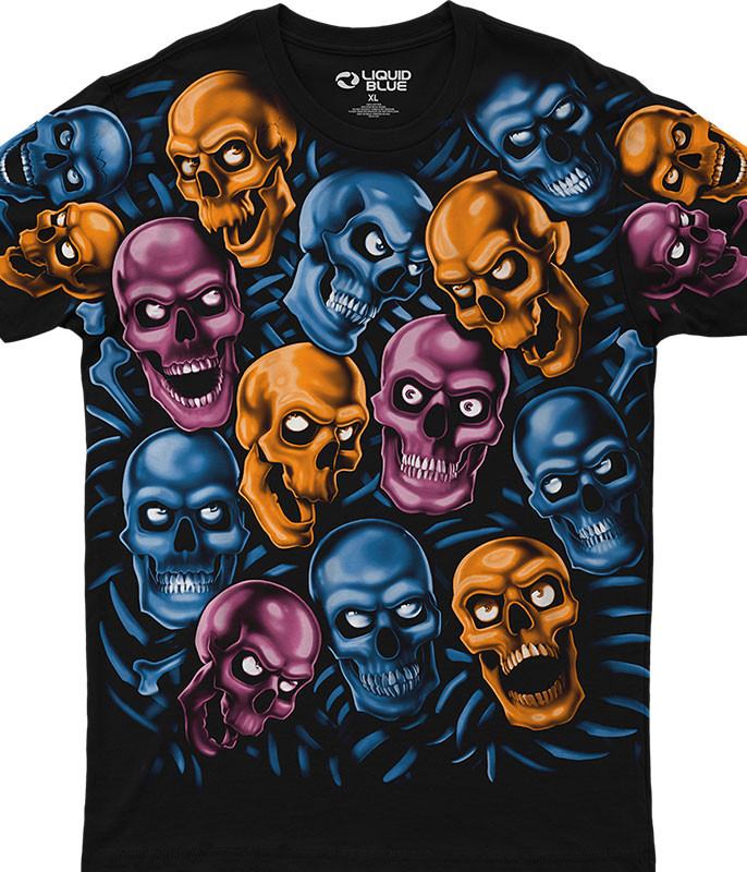 Skulls Skull Pile Blue Pink Orange Black Athletic T-Shirt Tee Liquid Blue
