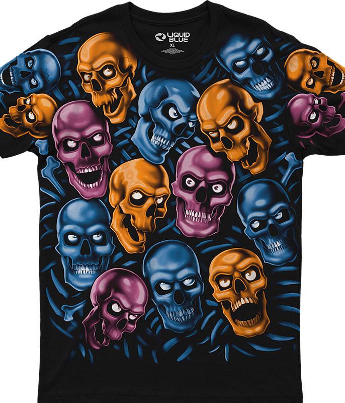 Skull Pile Blue Pink Orange Black Athletic T-Shirt