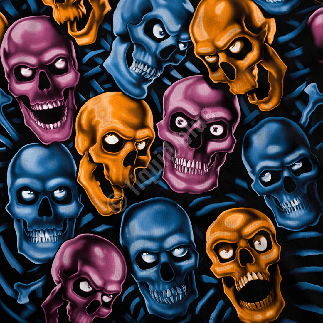 Skull Pile Blue Pink Orange Black Athletic T-Shirt