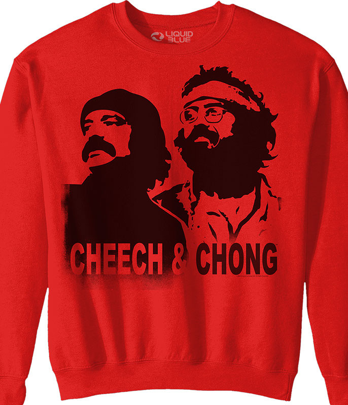 Cheech and Chong Stencil Red Sweatshirt Tee