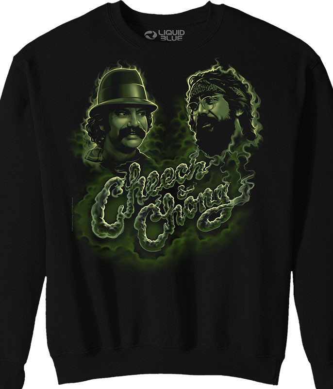 Cheech and Chong Green Smoke Black Sweatshirt Tee