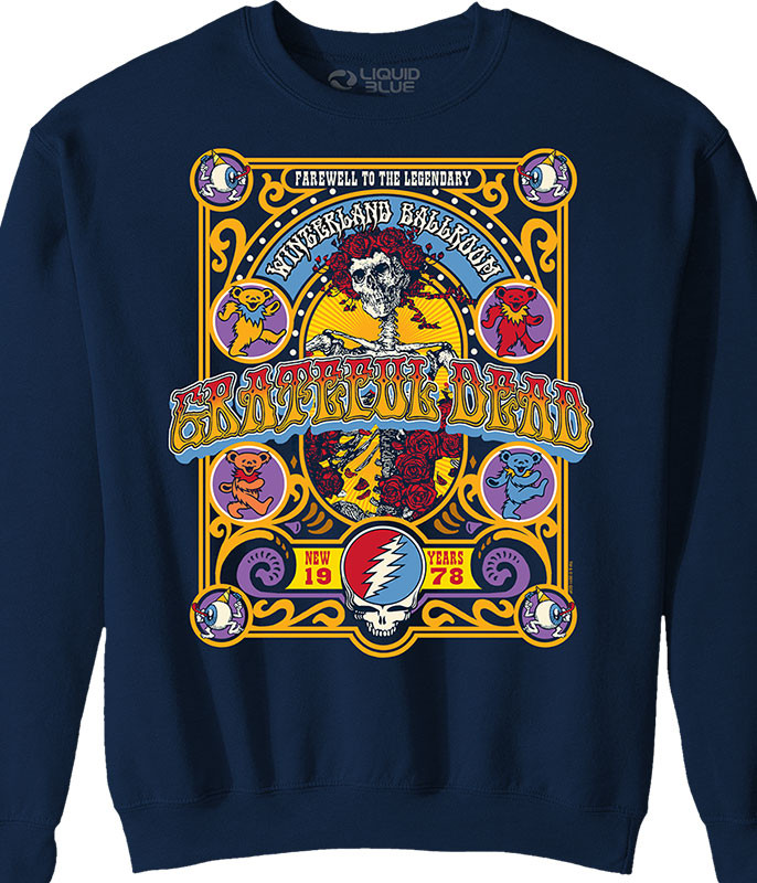 Grateful Dead Closing Of Winterland Navy Sweatshirt Tee