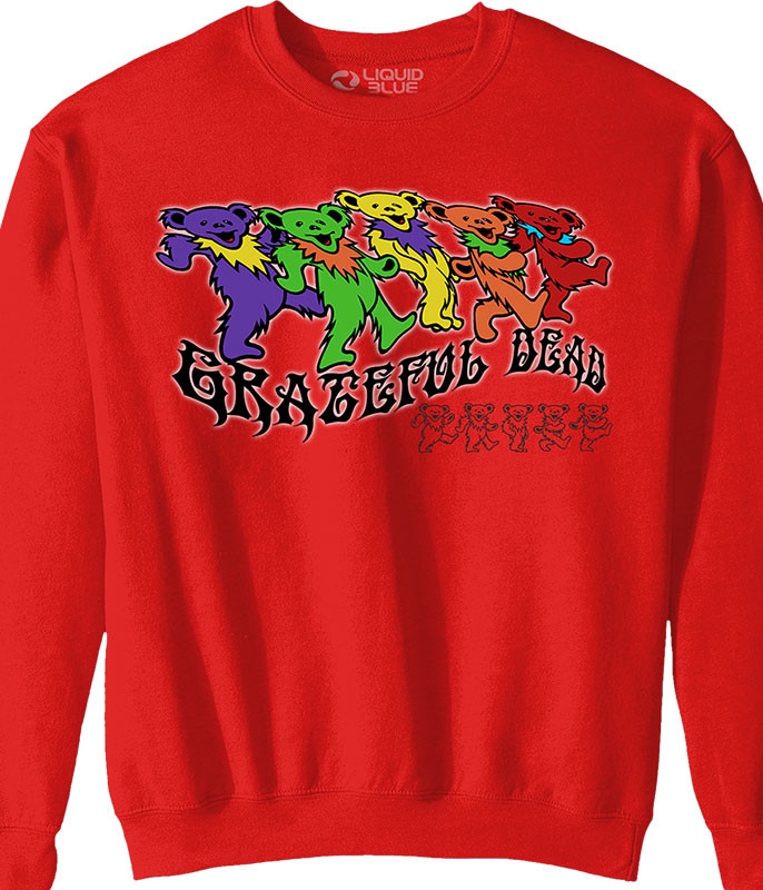 Grateful Dead Trippy Bears Red Sweatshirt Tee