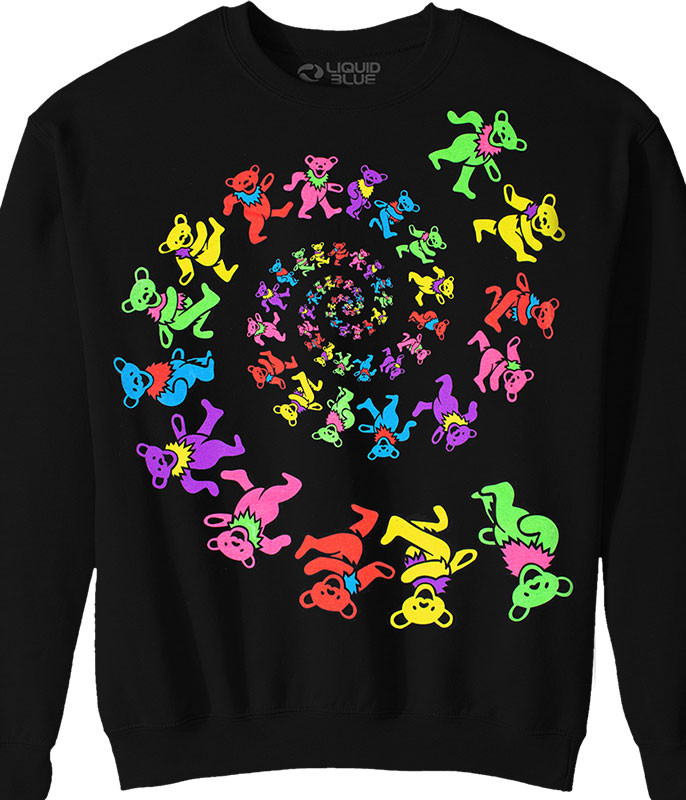 Grateful Dead Spiral Bears Blacklight Black Sweatshirt Tee
