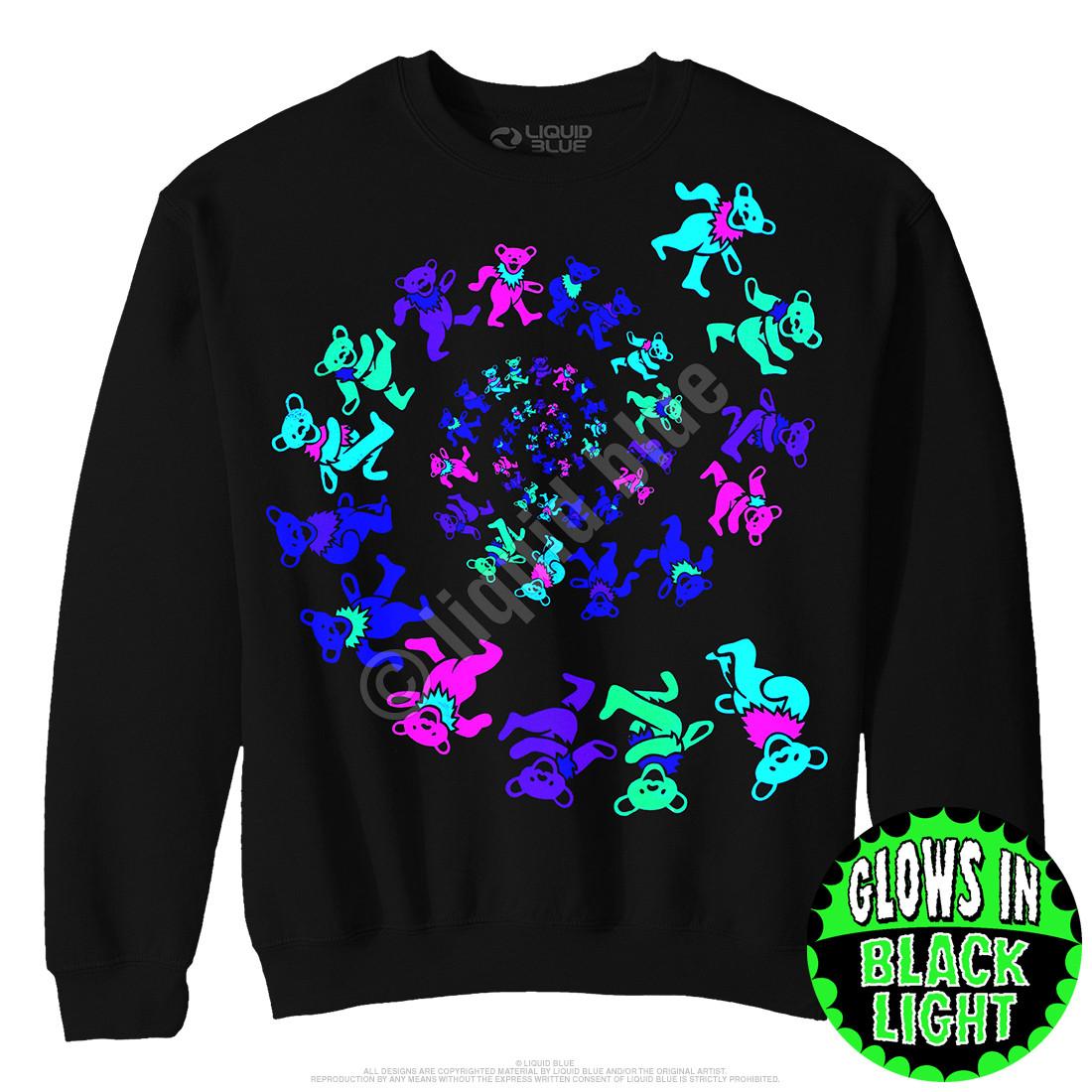 Spiral Bears Blacklight Black Sweatshirt
