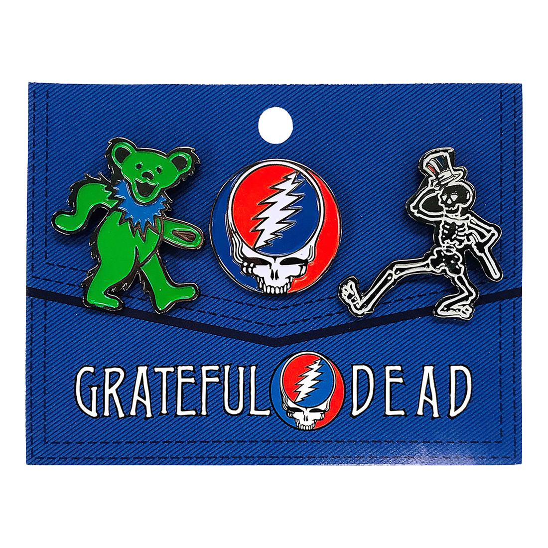 Grateful Dead 3 Pack Enamel Pin Set