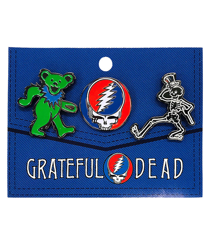 Grateful Dead 3 Pack Enamel Pin Set