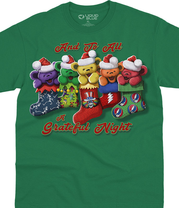 Grateful Dead Xmas Stocking Bears Green T-Shirt Tee Liquid Blue