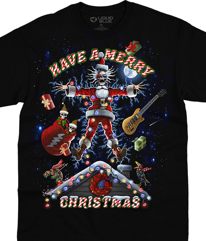 Grateful Dead Xmas Shocker Black T-Shirt Tee Tee Liquid Blue