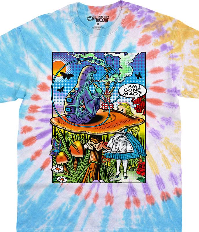 Light Fantasy Alice Pop Art Tie-Dye T-Shirt Tee Liquid Blue