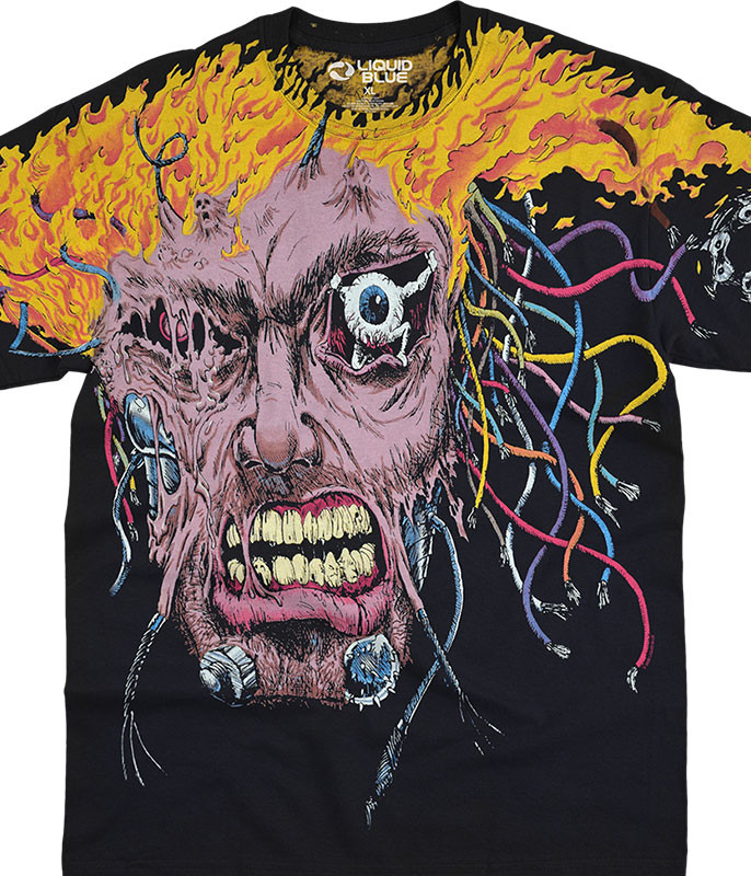 Dark Fantasy Overload Black T-Shirt Tee Liquid Blue