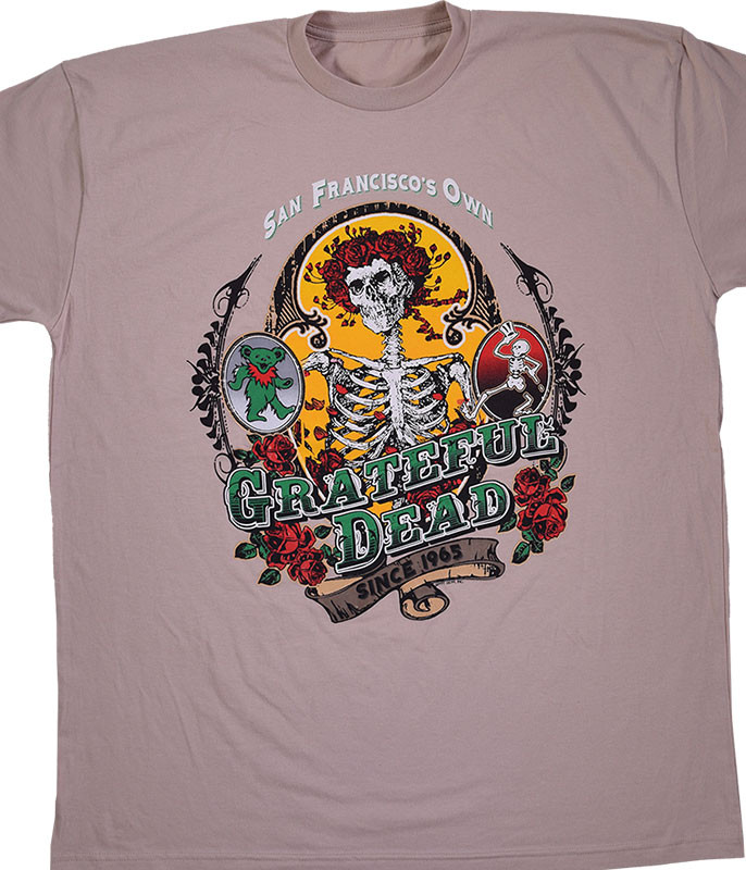Grateful Dead Bay Area Beloved Tan Athletic T-Shirt Tee Liquid Blue