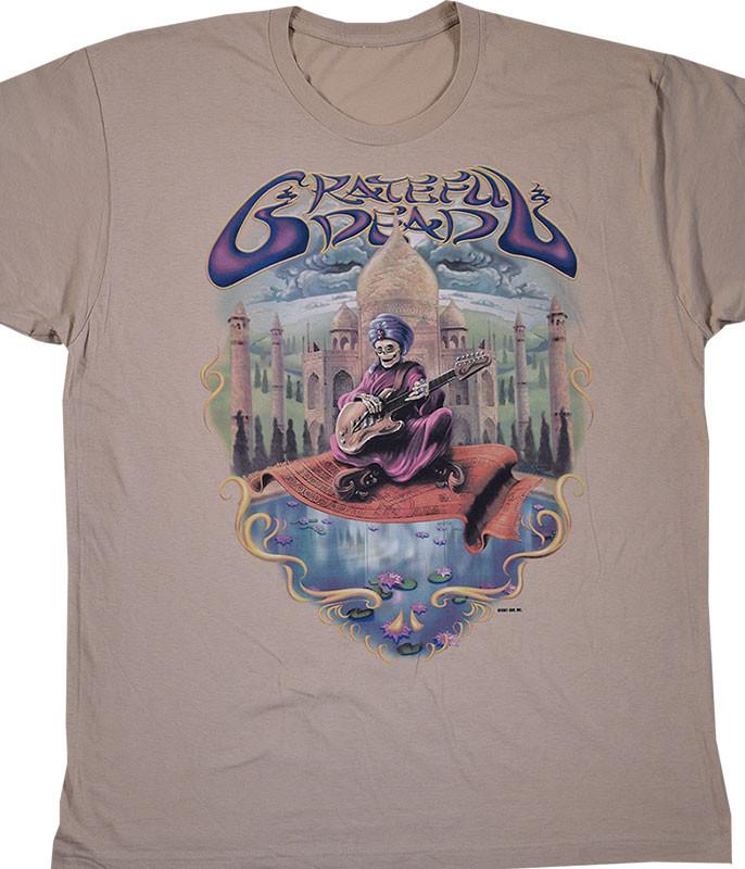 Grateful Dead Carpet Ride Tan Athletic T-Shirt Tee Liquid Blue